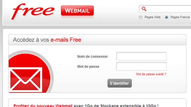 Relookage de la page d'authentification du webmail de Free