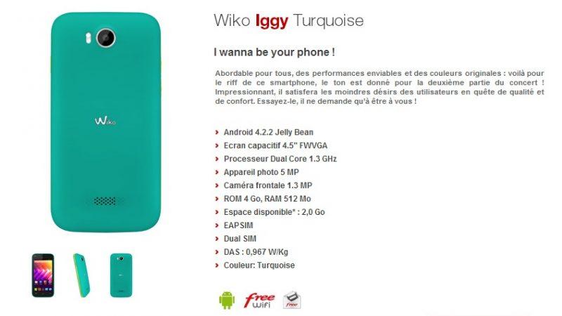 Le Wiko Iggy arrive en version turquoise sur la boutique Free Mobile