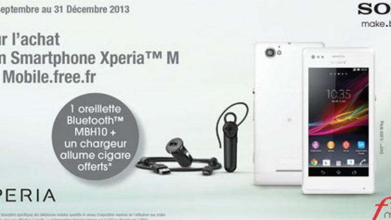 Free Mobile : une oreillette Bluetooth et un chargeur allume cigare offerts pour l'achat d'un Xperia M