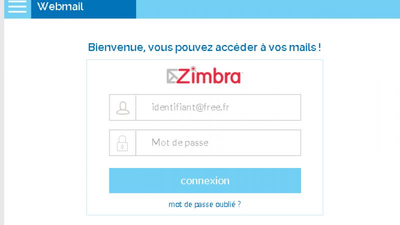 Free : La page d'authentification de Zimbra fait peau neuve