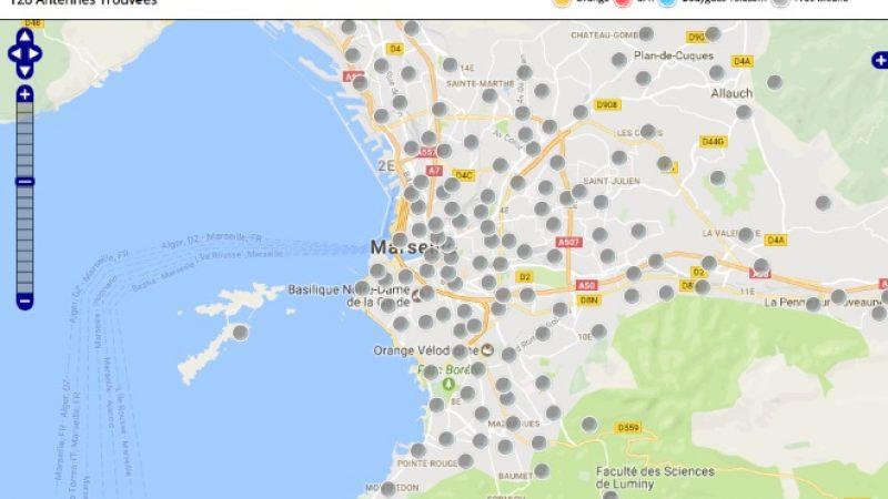 Découvrez la répartition des antennes mobiles Free 3G/4G sur Marseille