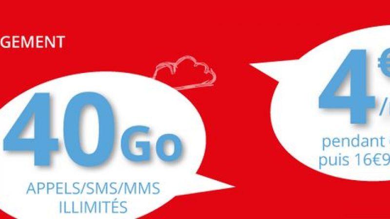 Auchan Telecom propose une nouvelle promo sur son forfait 40Go sans engagement