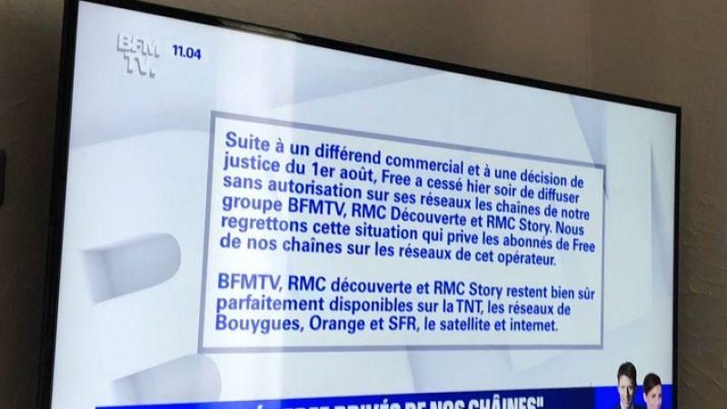 BFM TV annonce à tous ses téléspectateurs l'arrêt de diffusion des chaînes d'Altice sur les Freebox