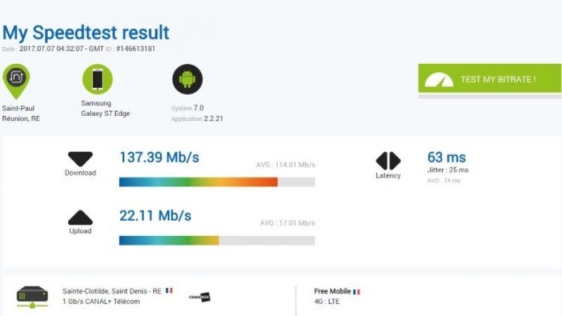Un nouveau record de débit sur le réseau Free Mobile 4G à la Réunion
