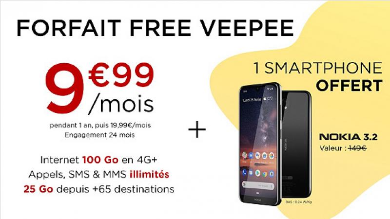 C'est parti pour l'offre promo Free Mobile sur VeePee : forfait 100Go + Nokia 3.2 pour 9,99€/mois