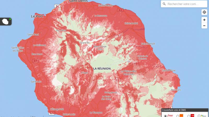 L'ARCEP met à jour ses cartes de couverture interactives pour l'Outre-Mer : Free se fait distancer à La Réunion