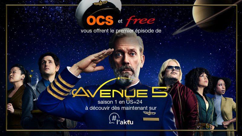 """Free et OCS vous offrent le premier épisode de la nouvelle série """"AVENUE 5"""", avec Hugh Laurie"""