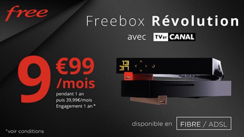 Free prolonge l'offre sépciale Freebox Révolution (fibre ou ADSL) avec TV by Canal pour 9.99€/mois