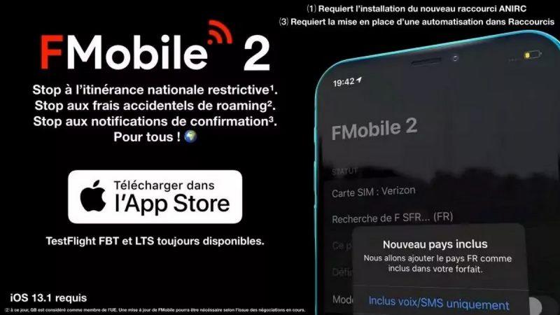 FMobile 2 : l'application se met à jour et simplifie la tâche aux abonnés Free Mobile souhaitant s'affranchir de l'itinérance Orange