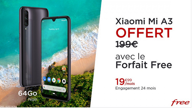 C'est parti pour l'offre promo Free Mobile sur VeePee : forfait Free + Xiaomi MI A3 offert