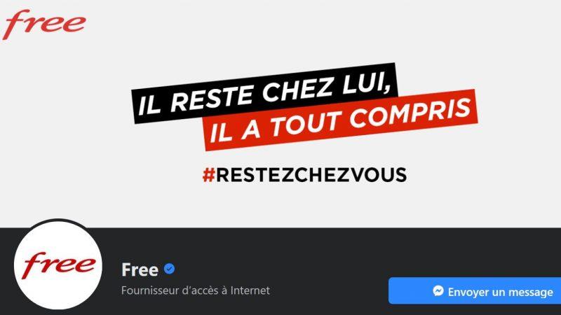 Free continue d'être très présent sur les réseaux sociaux avec ses campagnes de pub même si le marché tourne au ralenti