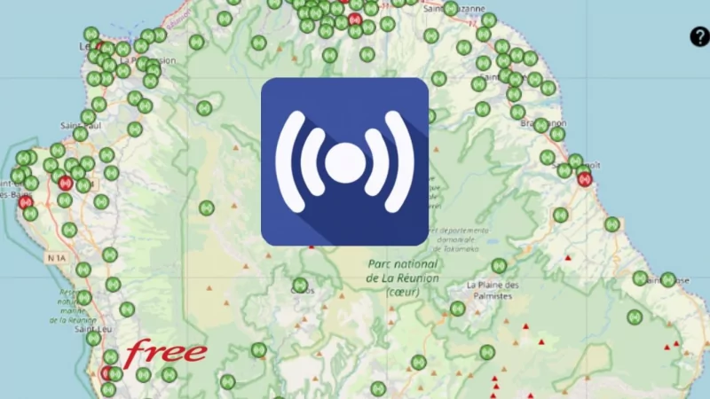 Découvrez la répartition des antennes Free Réunion 3G/4G à Trois Bassins