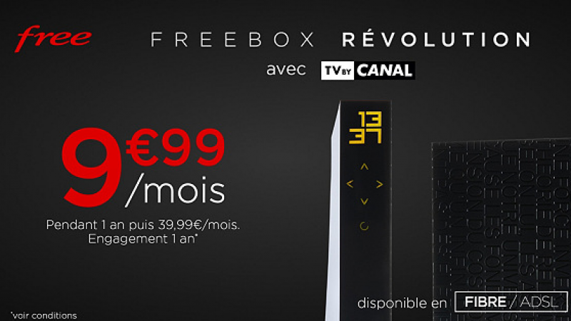Free lance une Vente Privée, avec la Freebox Révolution + TV by Canal à 9,99€/mois