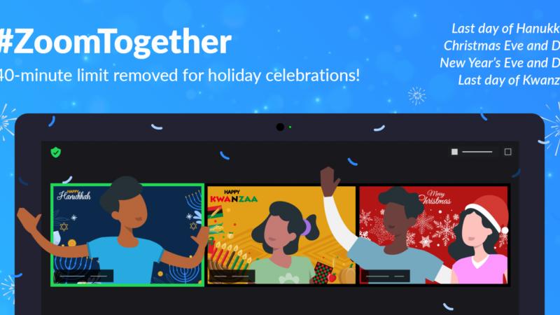 Pour les fêtes de fin d'année Zoom permet les réunions en illimité même pour les comptes gratuits
